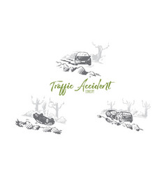 traffic accident - broken cars at vector image