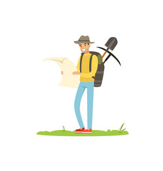 Treasure seeker with map and tools for digging vector