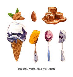 Various isolated watercolor ice cream vector