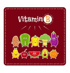 Vitamin b vegetables and fruits healthy food vector
