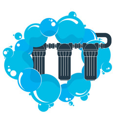 water filters and blue drops vector image