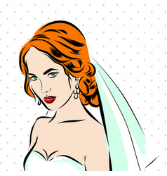 Wedding time portrait of bride in dress vector