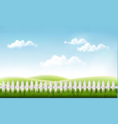 White fence in nature summer background vector