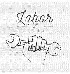 white poster with zigzag lines of labor day vector image