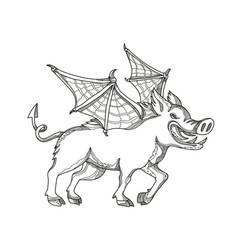 Winged wild boar doodle art vector