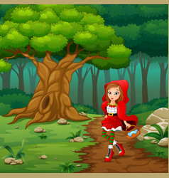 women red hooded at the street forest vector image