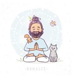 Yoga man and animals vector