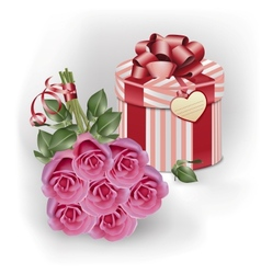 Bouquet pink roses and gift box vector image vector image