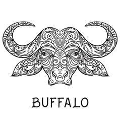 buffalo head with abstract ornament vector image vector image