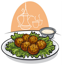 falafel with lettuce and sauce vector image vector image