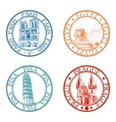 travel stamps set vector image vector image