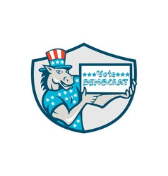 Vote Democrat Donkey Mascot Shield Cartoon vector image vector image