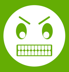 angry emoticon green vector image vector image