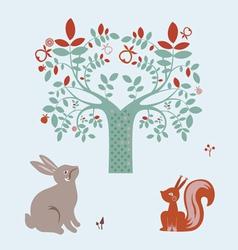 Cute animals and fantasy tree vector image vector image