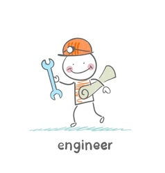 engineer comes with a key and paper vector image vector image