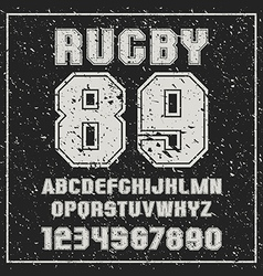 Sans serif font Rugby team with the contours vector image