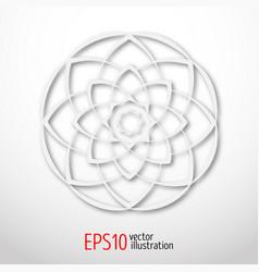 Magic white lotus in circle 3d sacral geometry vector