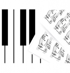 piano keys with note vector image vector image
