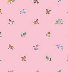 pink sparse pattern with toy horses vector image