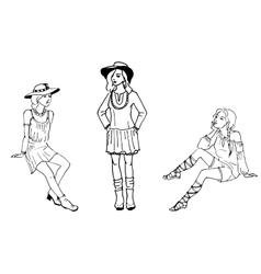 three beautiful fashion vector image vector image