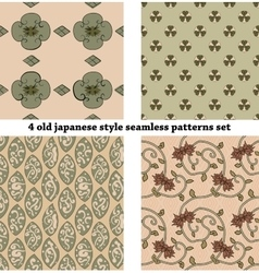 Vintage Japan-style Seamless Patterns set vector image vector image