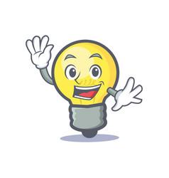 waving light bulb character cartoon vector image vector image