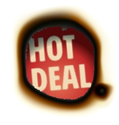Hot Deal - burned paper background with text vector image