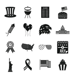 Independence day flag icons set simple style vector
