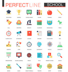 set of flat school education icons vector image vector image