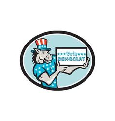 Vote Democrat Donkey Mascot Oval Cartoon vector image vector image