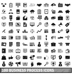 100 business process icons set simple style vector