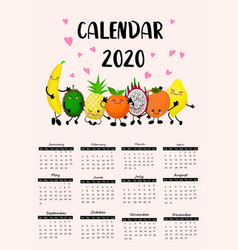 2020 calendar with funny characters planner for vector