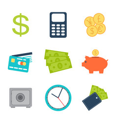 9 business icons set in flat style vector image