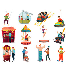 Amusement park isolated icons set vector