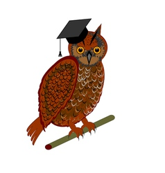 An owl wearing a graduation cap vector
