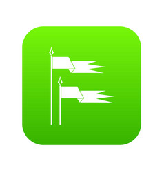Ancient battle flags icon digital green vector