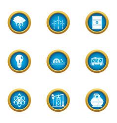 Atom icons set flat style vector