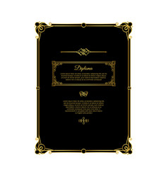 black and gold diploma template vector image