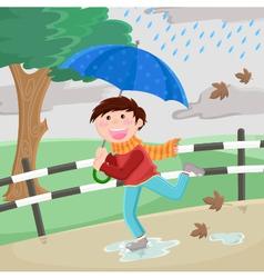 boy in rain vector image