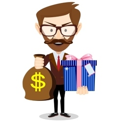 Businessman gives a gift bag with dollars vector image