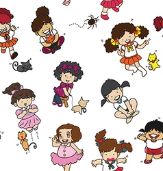 Cartoon cats girls pattern including seamless vector image