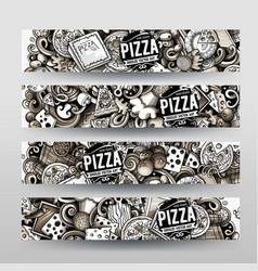 cartoon graphics hand drawn doodles pizza vector image