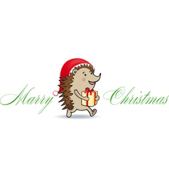 Christmas hedgehog vector