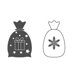 christmas icon christmas santa bag gift bag icon vector image