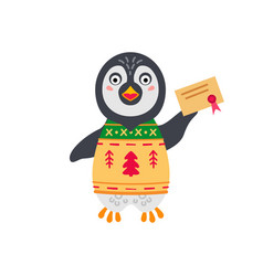 christmas penguin simple single flat icon vector image