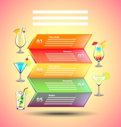 Cocktails infographics on colorful background vector