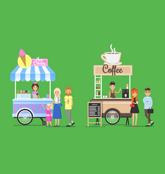 Cold ice cream and hot coffee street carts set vector