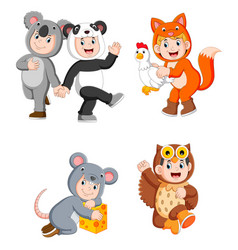 collection children wearing cute animal costumes vector image