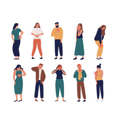 Collection of unhappy people suffering pain vector