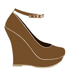 Color sketch of high heel platform shoe vector
